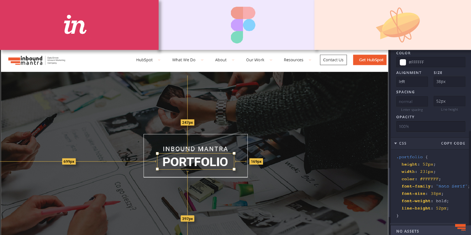 How to easily get the styling code (CSS) with web design tools?