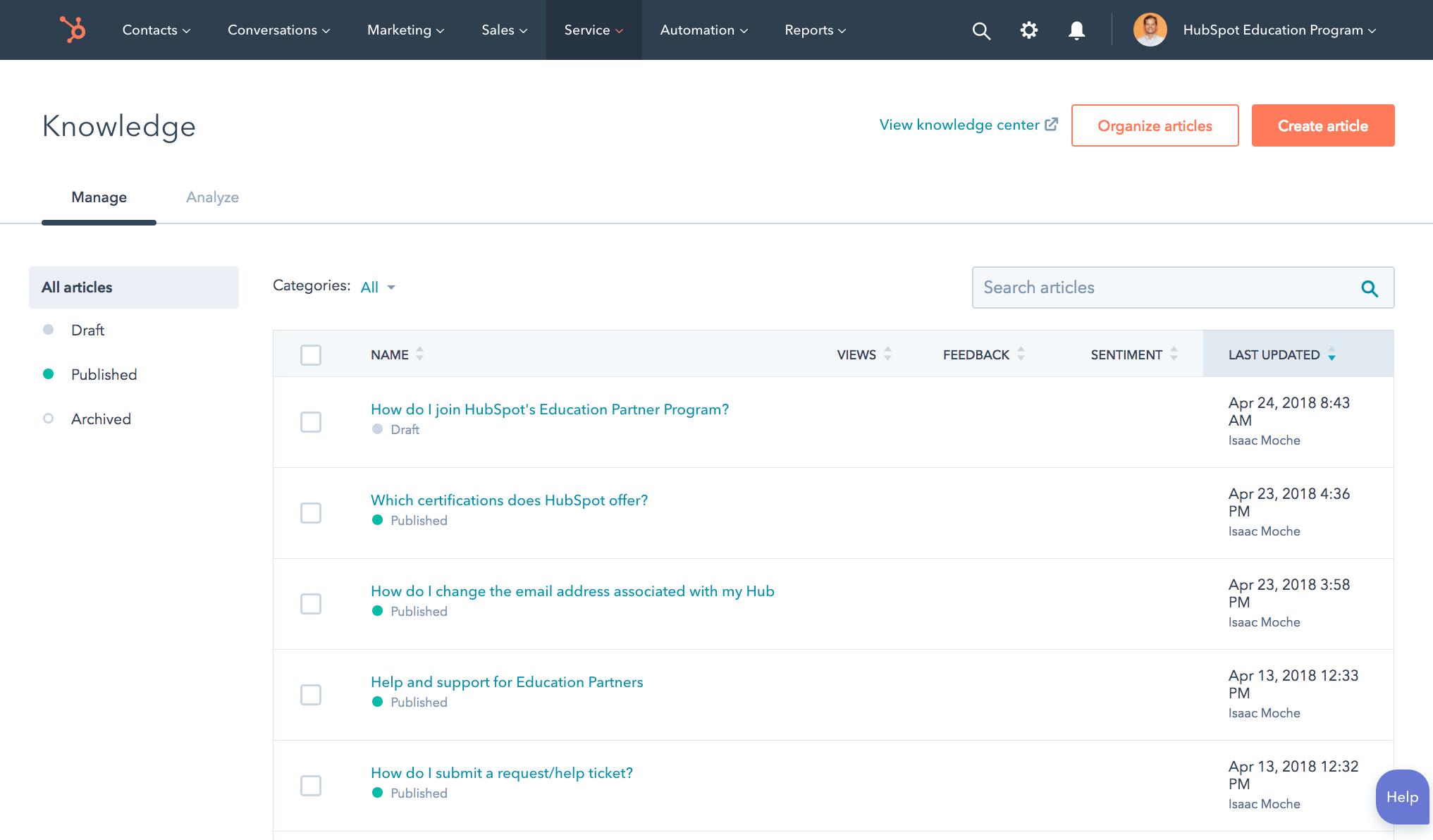 hubspot service hub knowledge base screenshot
