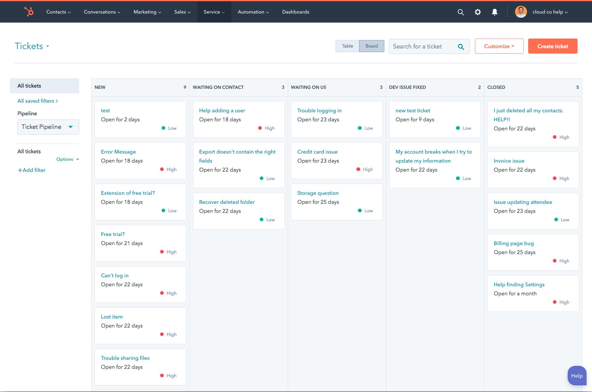 hubspot service hub tickets screenshot