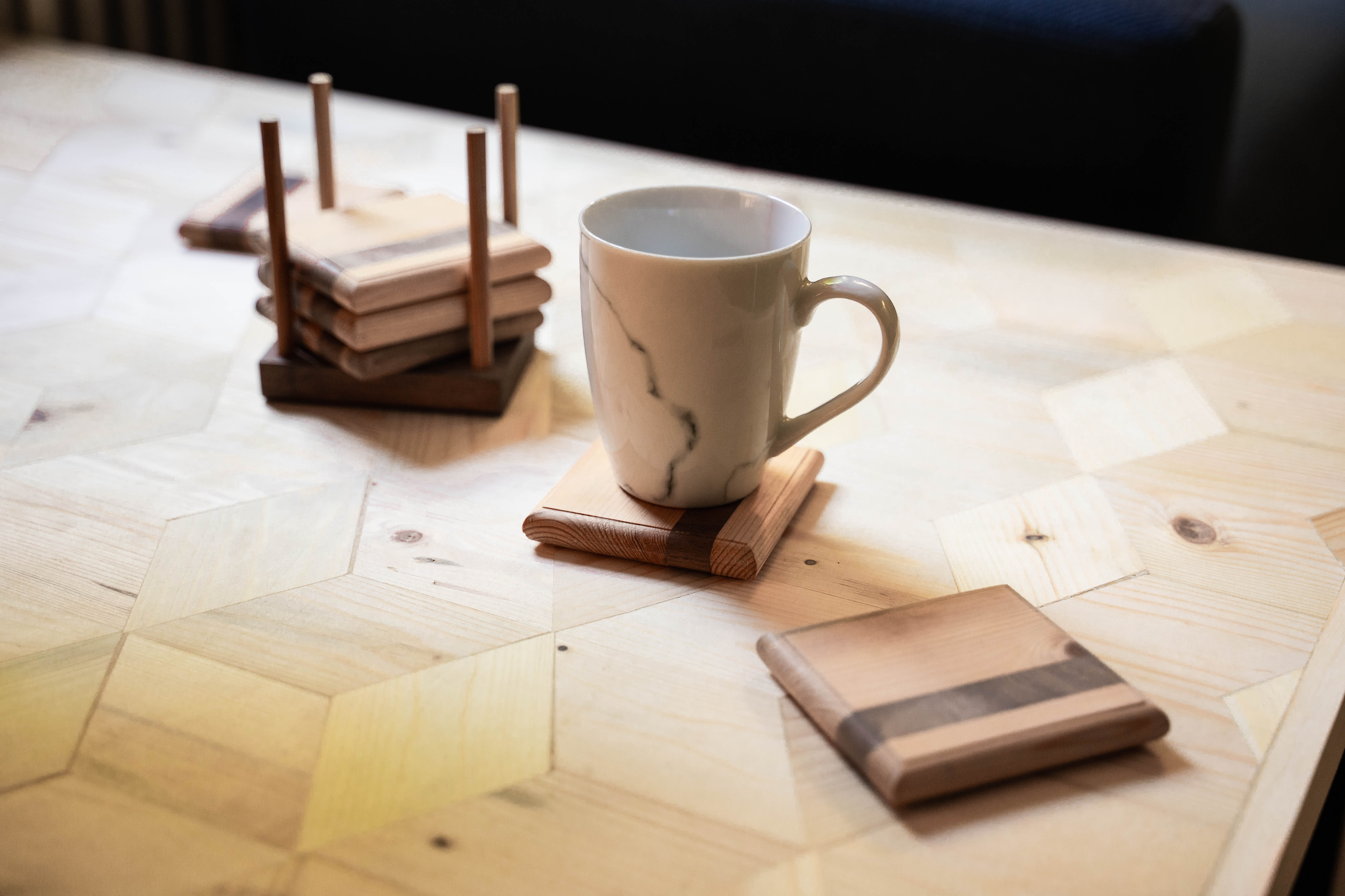 Effra Coasters  with a mug sitting pretty on our Ingleborough Cube Coffee Table