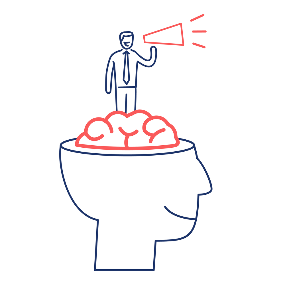 Graphic of brain and man with megaphone