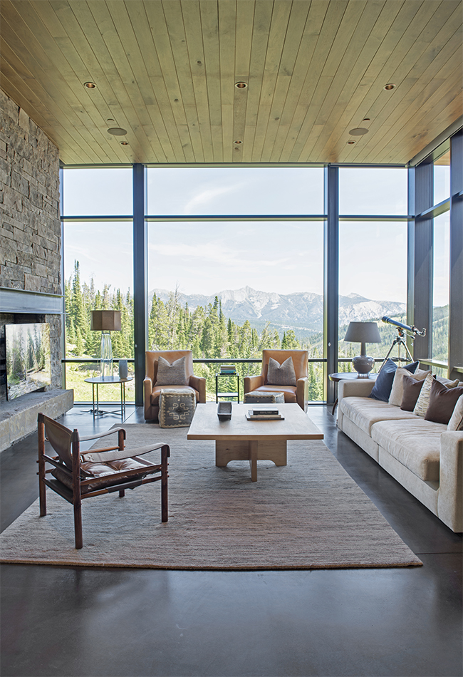 I love this home!   Pearson Design Group   did a phenomenal job designing this modern mountain home.  Looking out this window not only do you see the stunning views of the Spanish Peaks but it also looks out over the spacious deck below.  The views from this great room do not disappoint.
