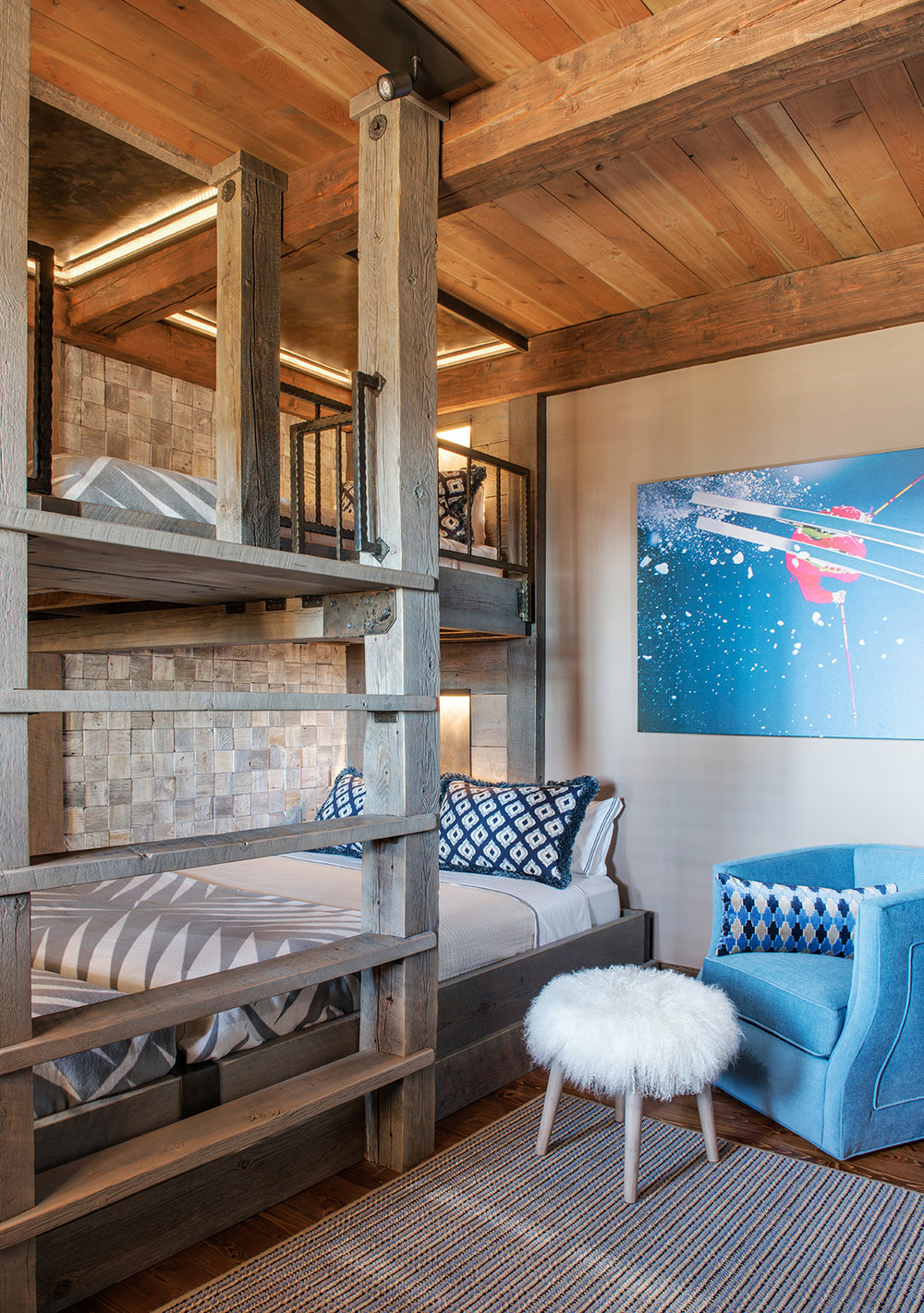 Another fun bunk room perfect for the ski house.  I love the chair, the art, the custom bunkbed.... well, I just love it all!