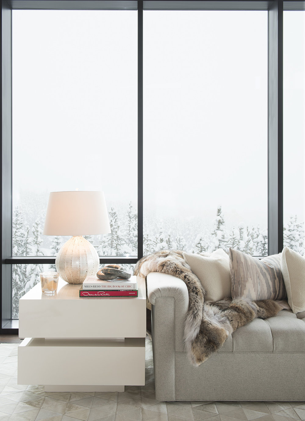 Usually cloudy skies are a bummer on shoot days, but not this day!  The white outside really added to the comfy and bright furnishings inside!  Architect -  Reid Smith Architects , Interior Design -  Anna Burke Interiors