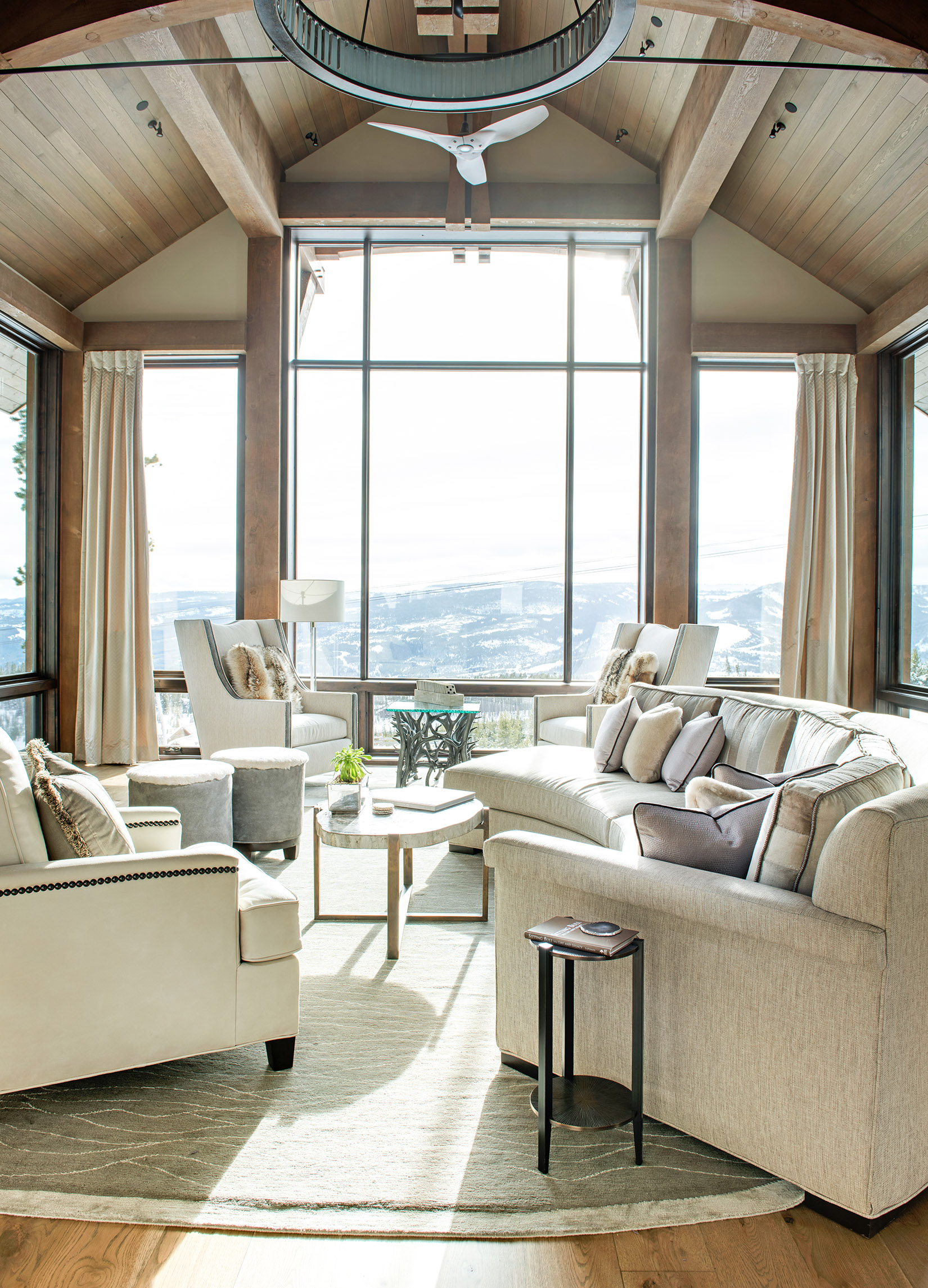 Bright, open, & airy is how I describe this beautiful great room designed by Michelle Varda from  Varda Interiors . I am obsessed with the furnishings, they brighten up the room perfectly! Builder -  Big Sky Build