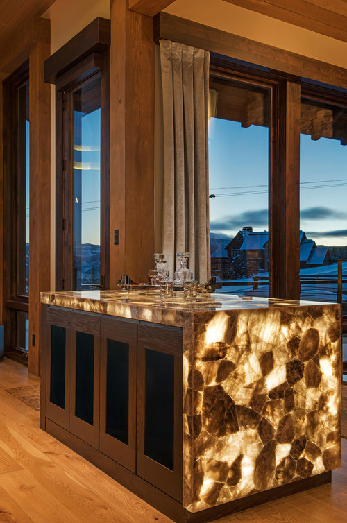 This bar is incredible! The stonework was custom built by Montana Tile & Stone