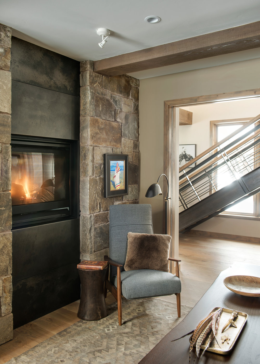 Every detail of this home was well thought out.  The study, located just off the kitchen, is a special space with built in fireplace.  And those stairs in the background - another architectural success!