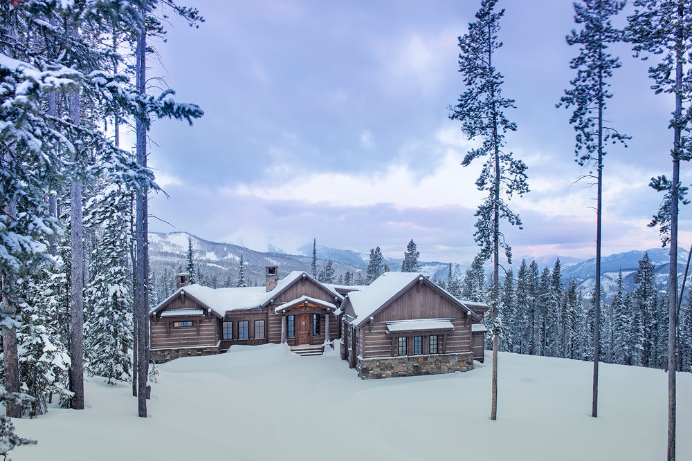 The rustic home is meant to be situated in a rustic setting - here being the woods and mountains... spectacular! Architect -  Centre Sky Architecture  Builder -  Dovetail Construction