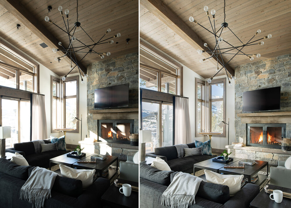 The first image is before light was added, the second is after light was added.  Interior Design -  Shelter Interiors