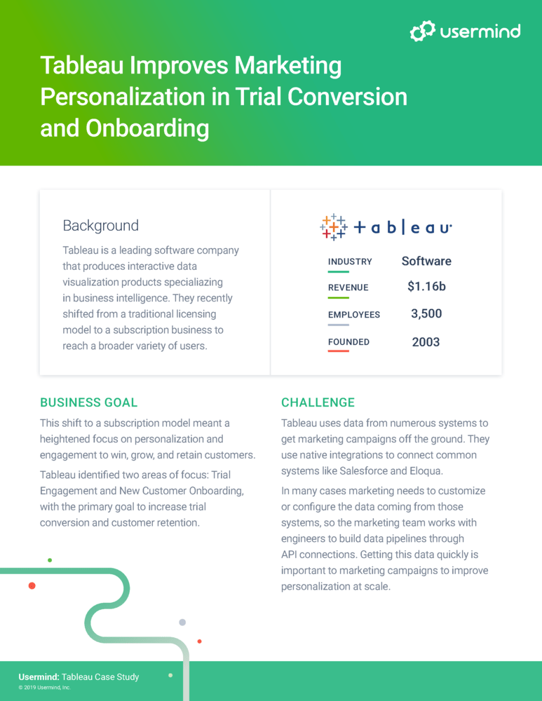 Tableau Improves Marketing Personalization in Trial Conversion and Onboarding