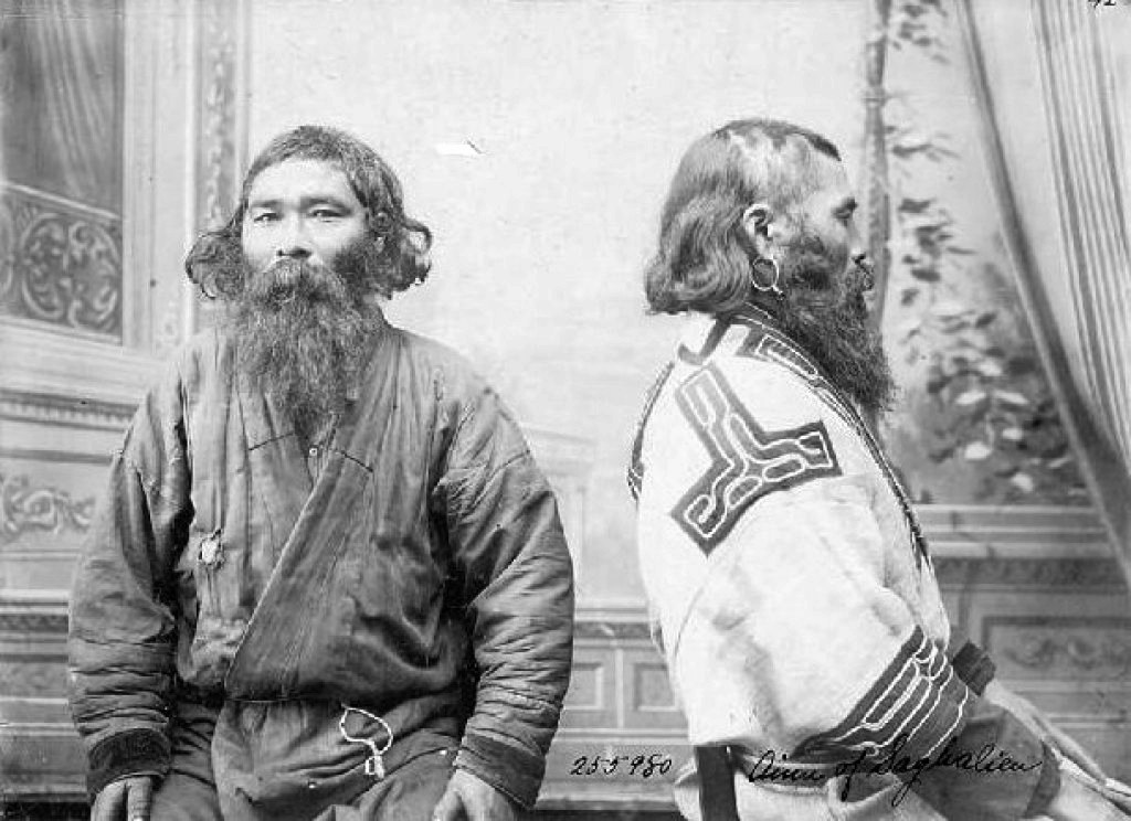 Ainu men in traditional dress