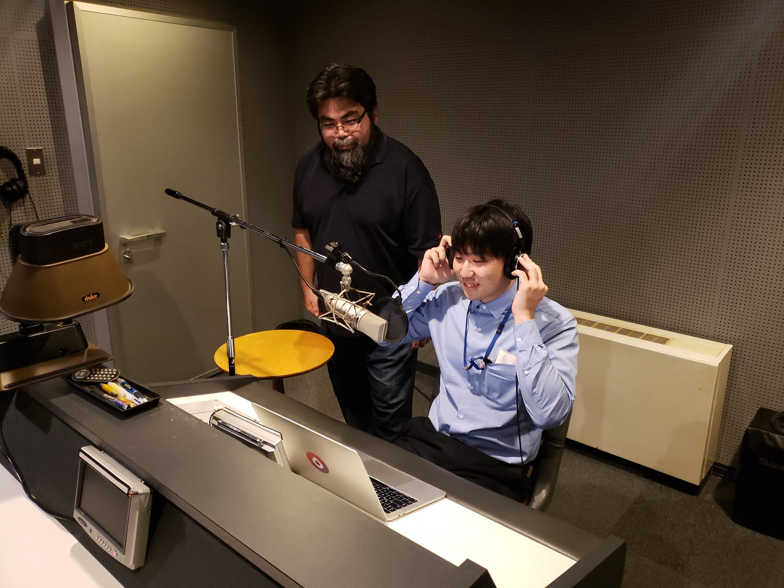 Voiceover talent, certified Ainu language instructor, Kenyu Yamamaru Recording Ainu Words for Drops