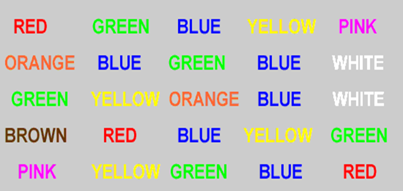 Box containing the names of colors written in the corresponding color.