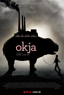 Okja movie cover image - oversize pig with girl leading pig on a leash - grey ominous background - can click image to go to respective movie website