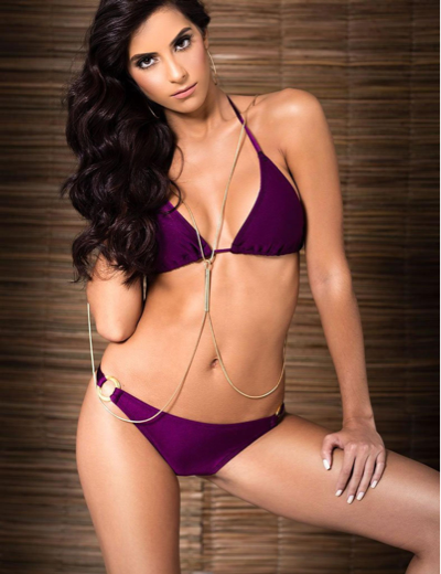 Handmade Satin Look Violet Bikini Set