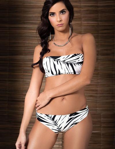 Palm Tree Strapless Bikini Set