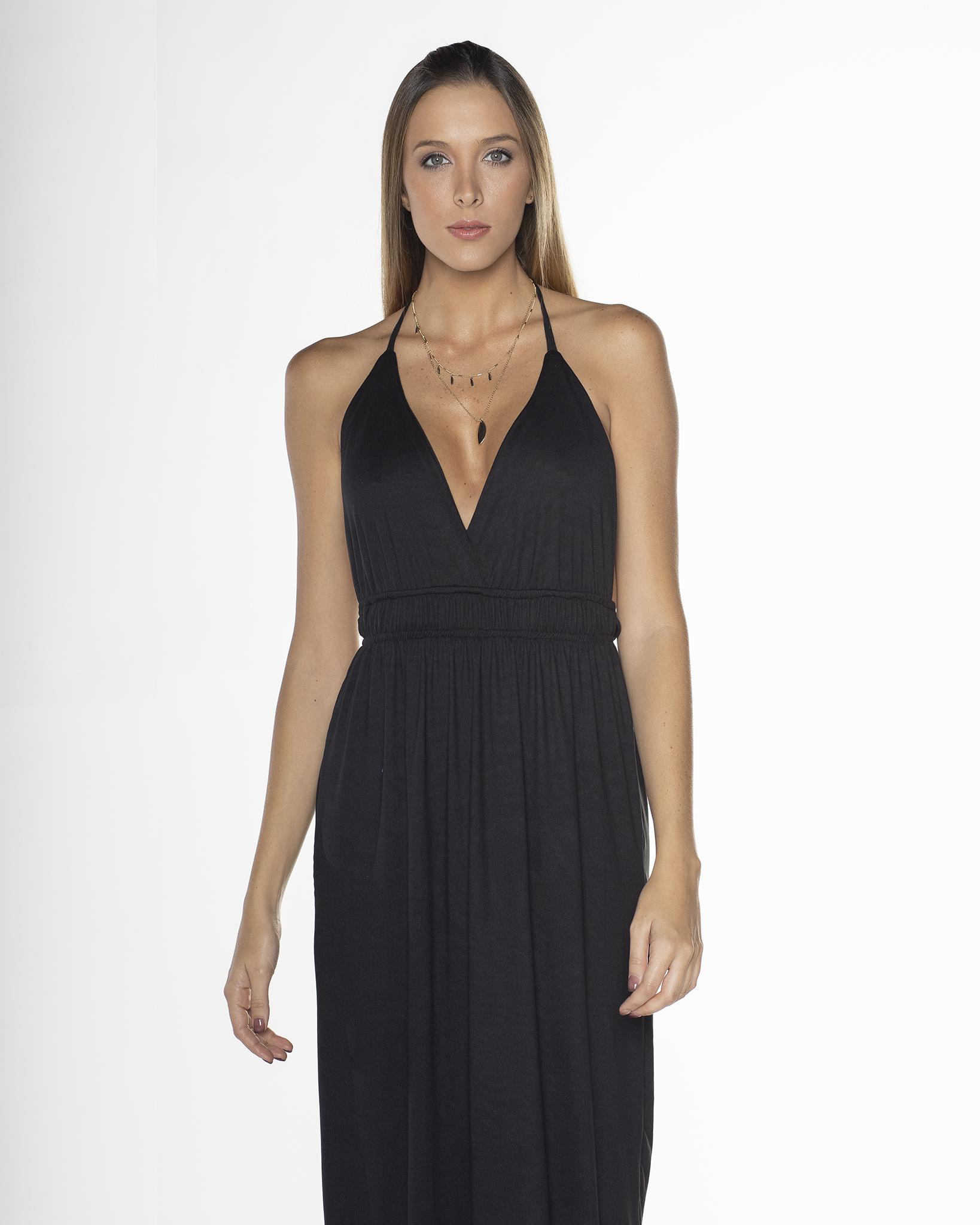 Open Back Black Maxi Dress