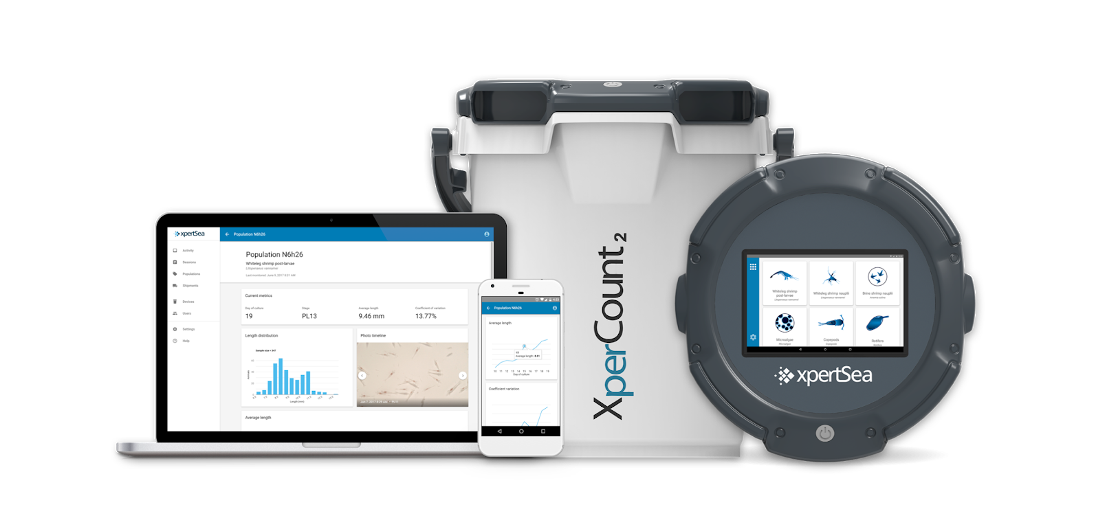 XpertSea Solution including the XperCount, an automated smart counting device