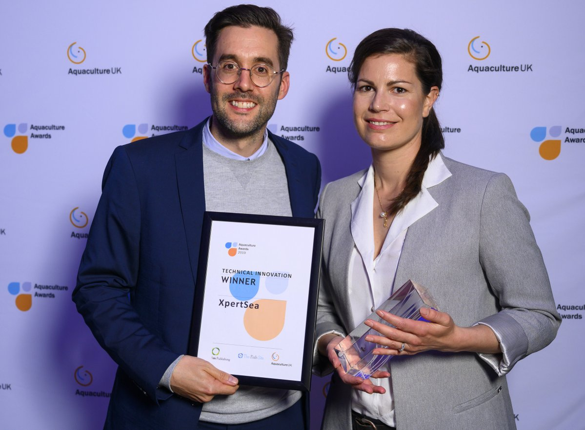 XpertSea's CRO Mikael Lefebvre and co-founder and CEO Valérie Robitaille with the Technical Innovation award