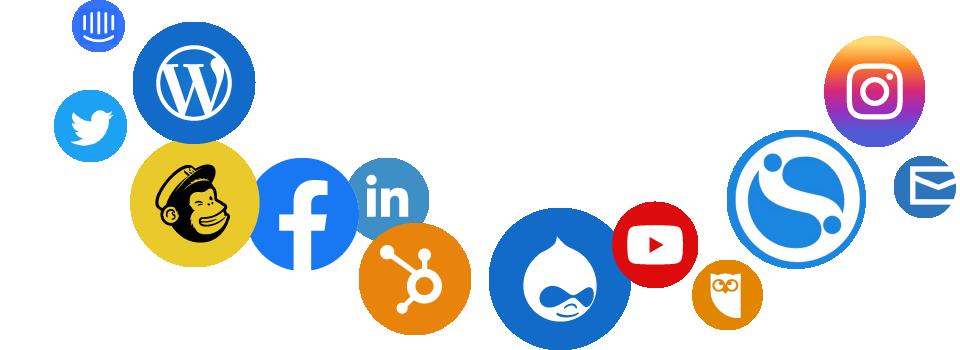 Social Icons: social media integration across Facebook, LinkedIn, Twitter and more!