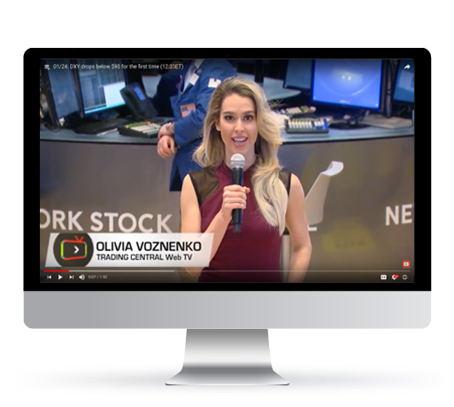 Web TV video playing on a tv - live from the NYSE.
