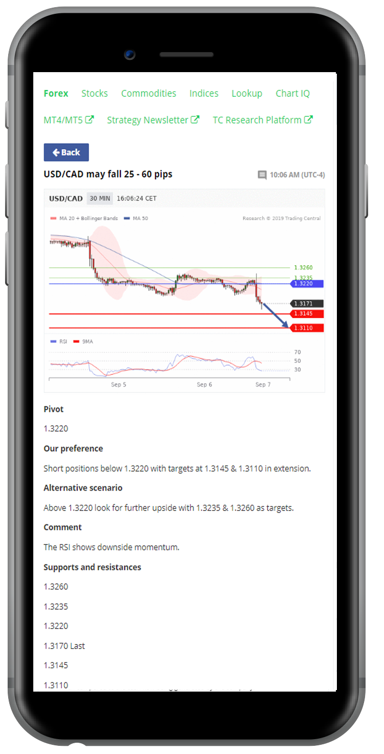 Analyst Views mobile mockup. Integrate into your mobile app.