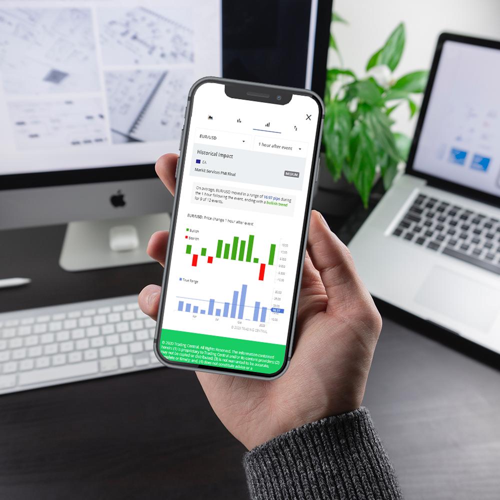 Economic Insight mobile mockup - explore risk and volatility analysis