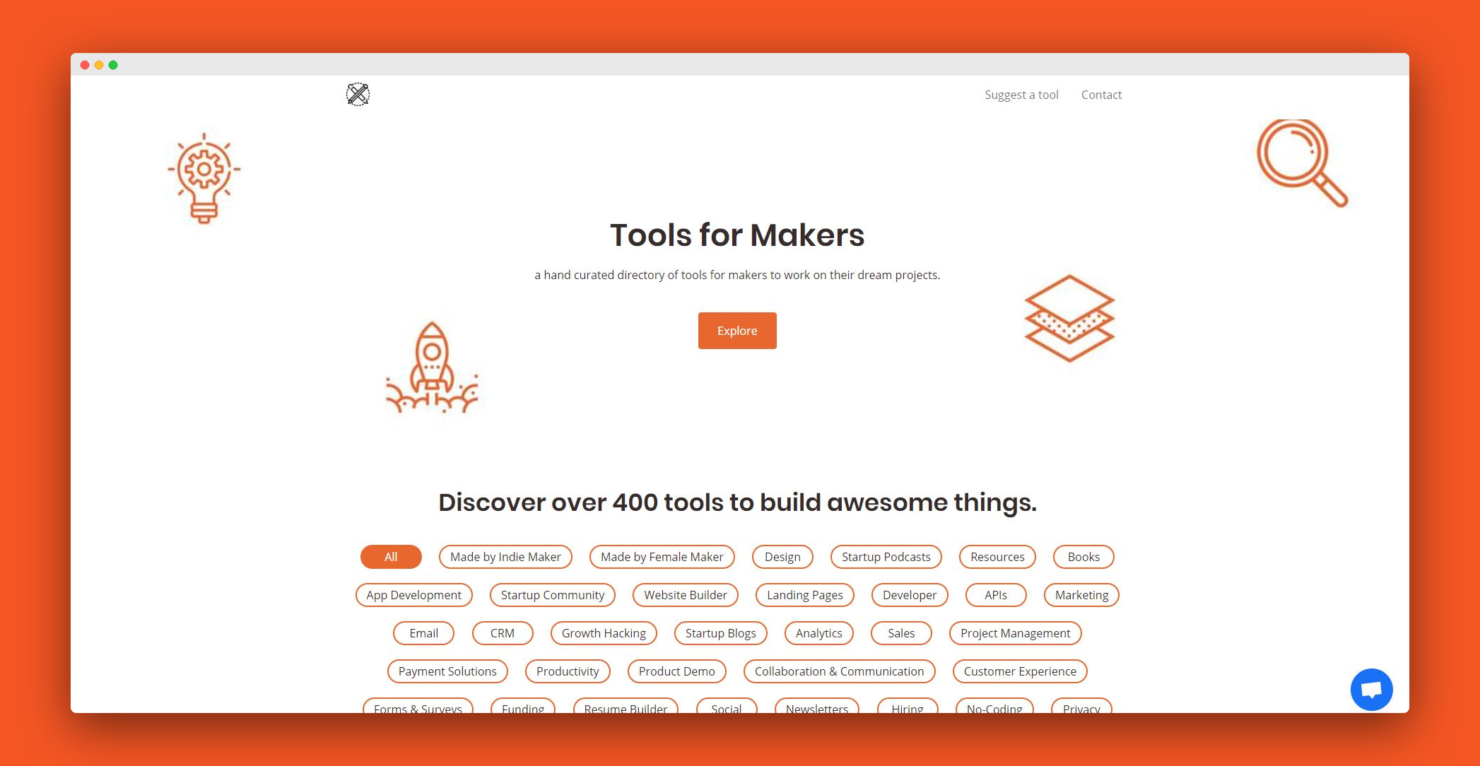 a hand curated directory of tools for makers to work on their dream projects
