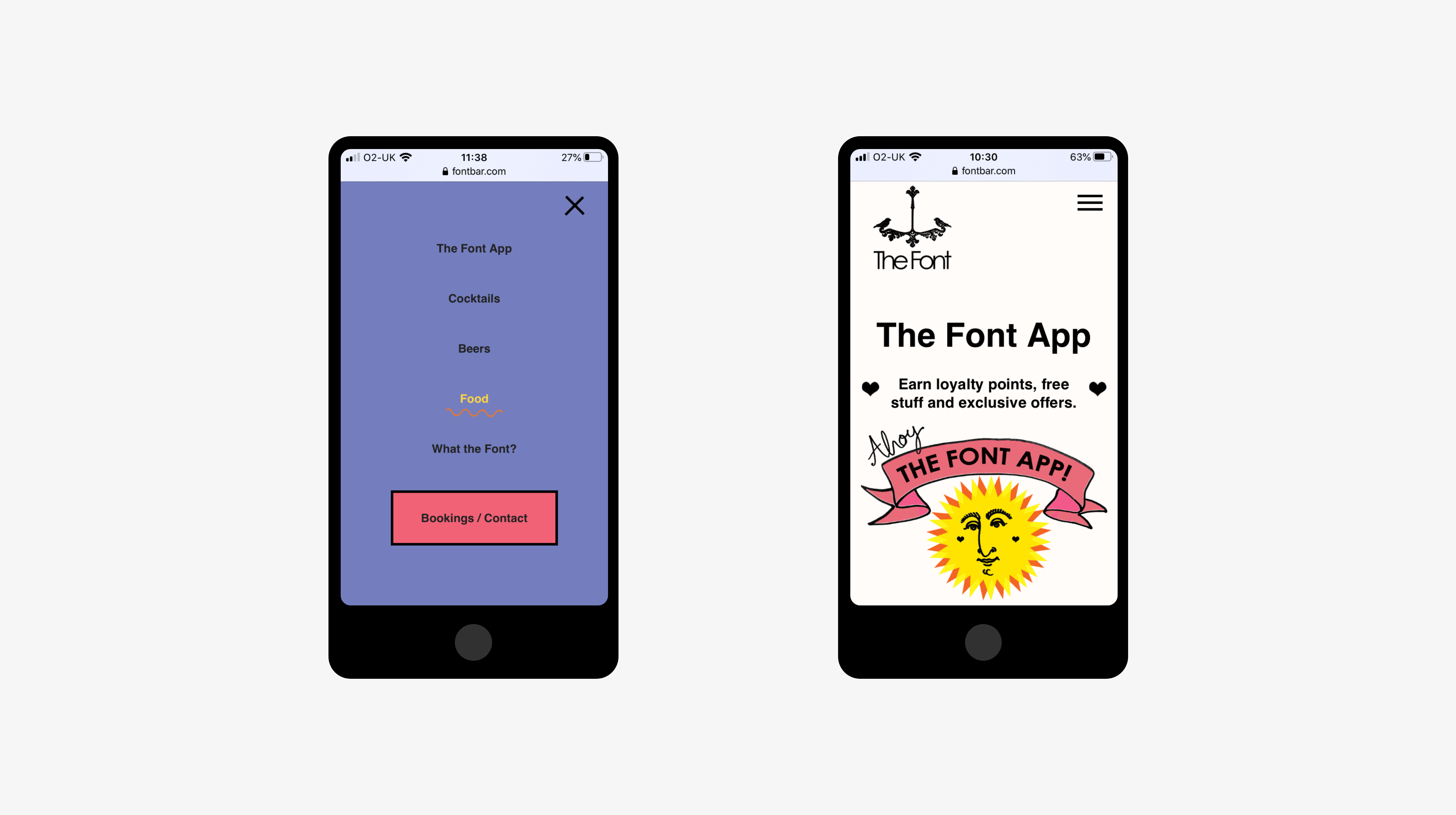 Mobile view - navigation and The Font App page