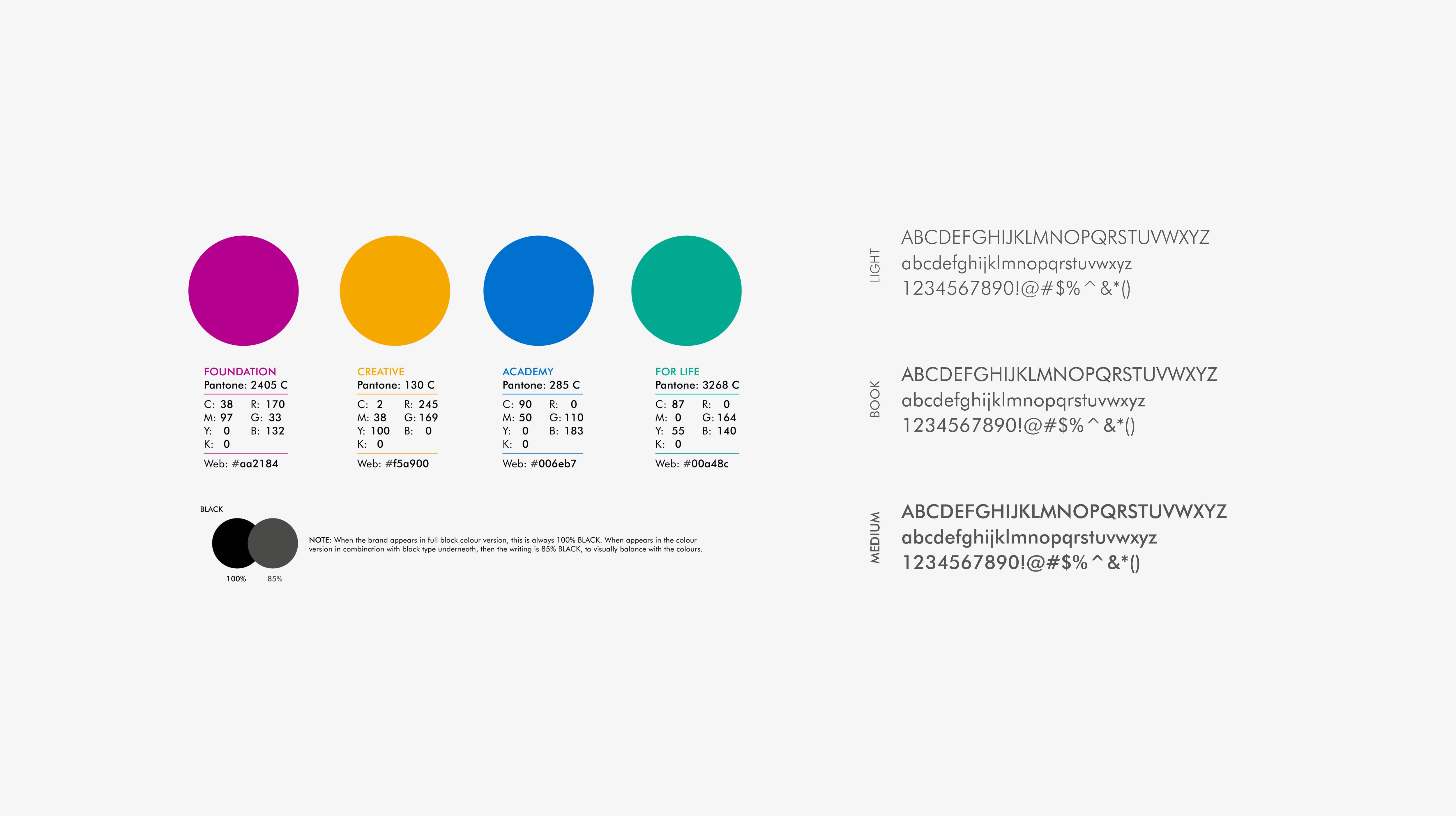 Colourways & Typeface