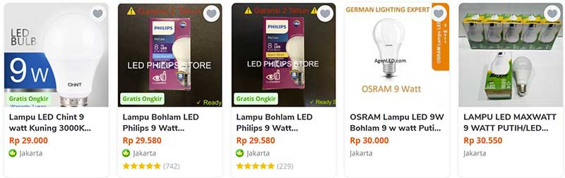 harga lampu led philips 9 watt