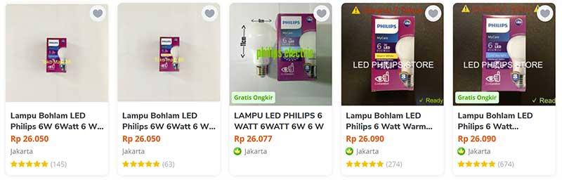 harga lampu led philips 6 watt