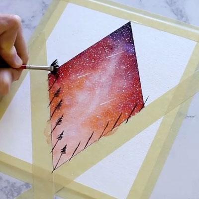 aplikasi lakban kertas pada canvas