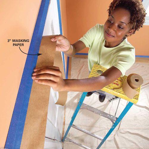 Mengecat dinding menggunakan kraft paper tape / masking paper