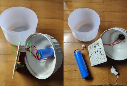 Cara mengganti baterai lampu emergency - cabut baterainya