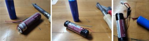 Cara mengganti baterai lampu emergency - sesuaikan baterai baru agar cocok ke dudukan baterai lama