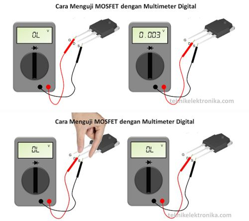 Cara mengukur transistor MOSFET
