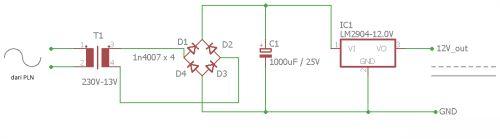 Rangkaian listrik pengubah AC ke DC menggunakan trafo dan dioda