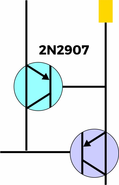 Simbol transistor pada rangkaian lampu emergency