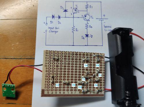 Langkah membuat lampu emergency DIY - menyambungkan kaki komponen
