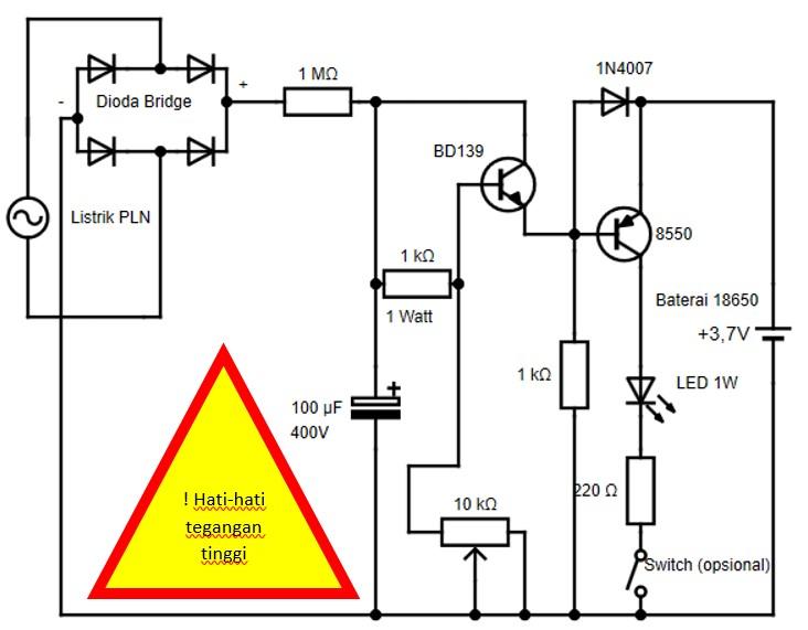 Skema rangkaian lampu LED sederhana