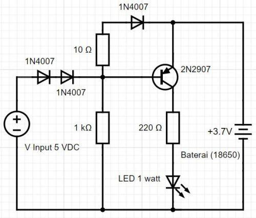 Skema rangkain konversi led emergency sederhana dari baterai hp