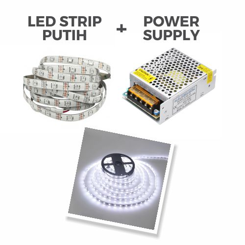 LED Strip tanpa adaptor (menggunakan power supply)