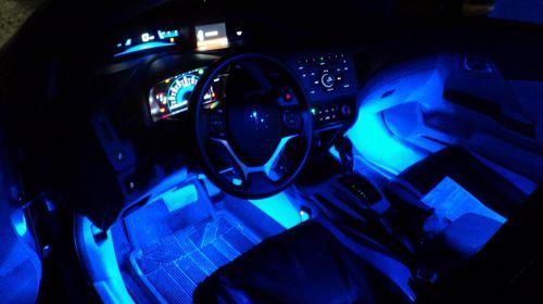 interior mobil dengan led selang