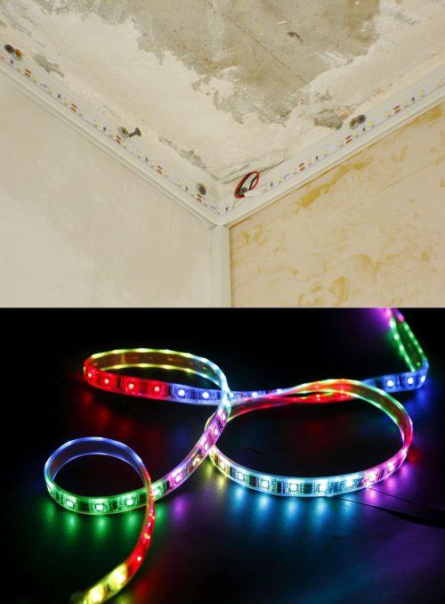 LED strip yang fleksibel dipasang pada plafon rumah