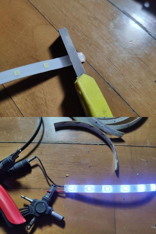 Cara mengupas LED strip dan menyambungkan kabel