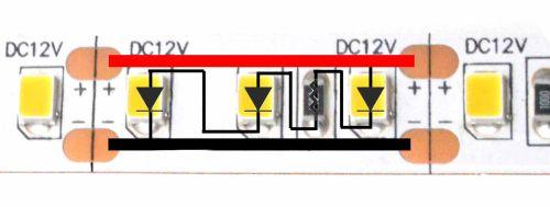 Arah arus listrik LED Strip analog