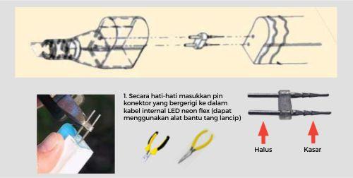 Langkah menggunakan soket power untuk led neon flex