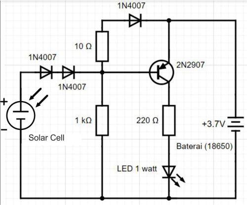 Gambar rangkaian sederhana untuk membuat Lampu LED tenaga surya