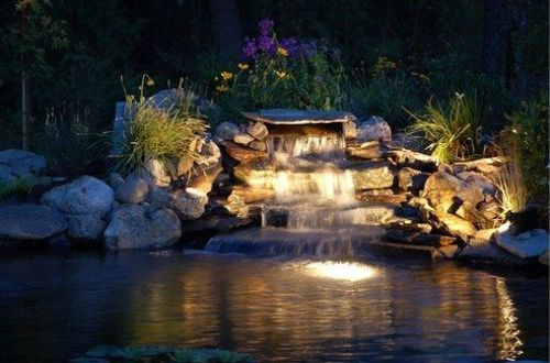 Gambar kolam ikan dengan lampu sorot
